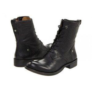 NINE WEST Leather Takotae Lace Up Combat Boot